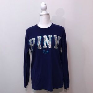 VS PINK Victoria's Secret Blue Silver Sequin Top S